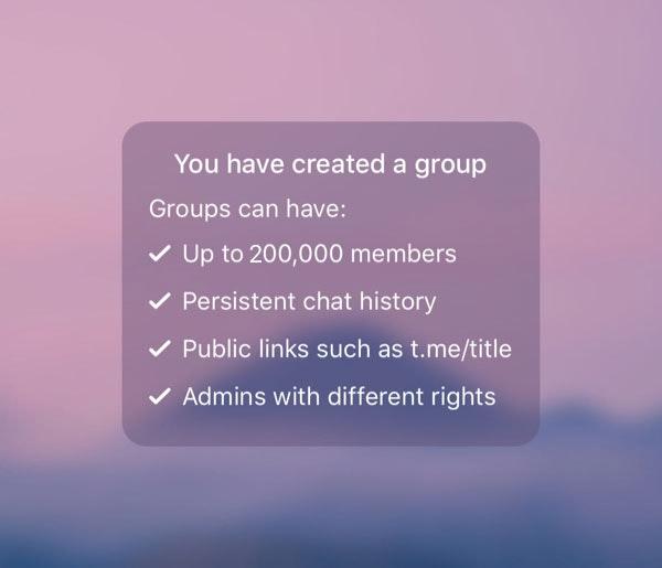 Telegram Gruppen unstertützt bis zu 200.000 Mitglieder. (Bild: Telegram)