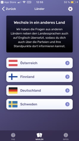 Die App Wahlswiper funktioniert nicht nur für Deutschland, sondern auch für Österreich, Finnland und Schweden – in Englisch oder der jeweiligen Landessprache. (Foto: t3n)