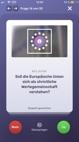"""Wahlswiper: Nach dem Tinder-Prinzip können Nutzer nach rechts wischen, um eine Frage mit """"Ja"""" zu beantworten und für ein """"Nein"""" nach links wischen. (Screenshot: t3n)"""