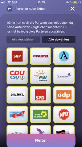 Nutzer können im Wahlswiper ihre Antworten mit 31 europäischen Parteien vergleichen. (Scrennshot: t3n)