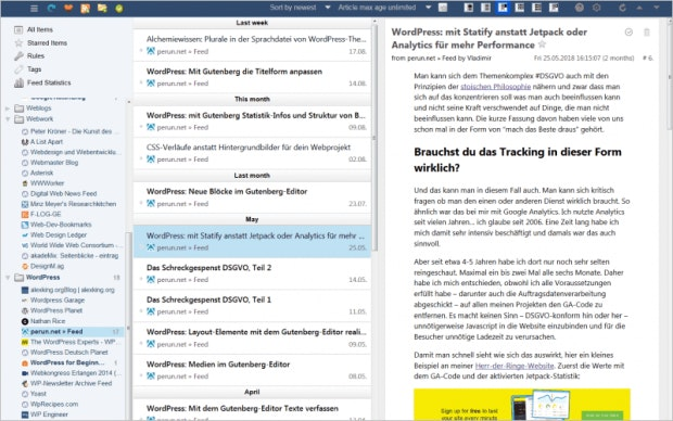Feedbro: RSS-reader im Browser