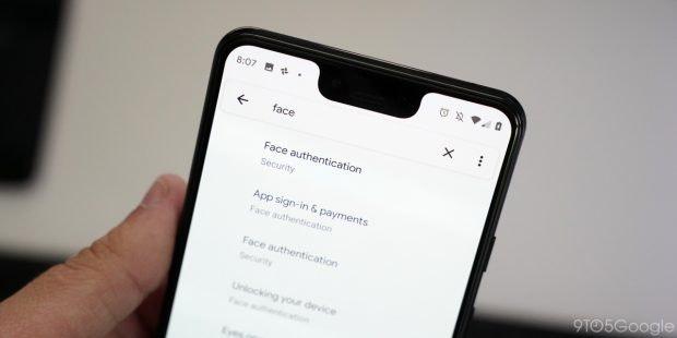 Android 10 Beta 4 mit Hinweisen auf native Gesichts-Authentifizierung. Foto: 9to5Mac)