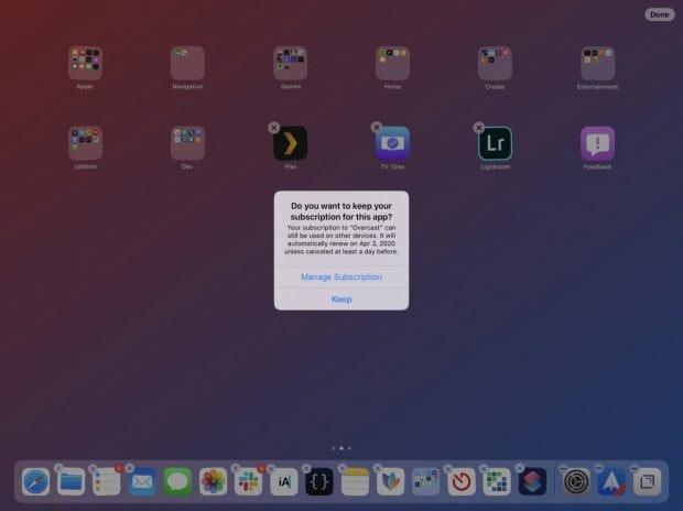"""iOS 13 warnt euch vor dem Löschen einer App, falls ihr ein laufendes Abo fr den Dienst habt. (Screenshot: <a href=""""""""https://twitter.com/viticci/status/1140780962013437952>Viticci</a>)"""