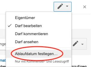 Dateifreigabe-Ablaufdatum in Google Drive zeitlich begrenzen.