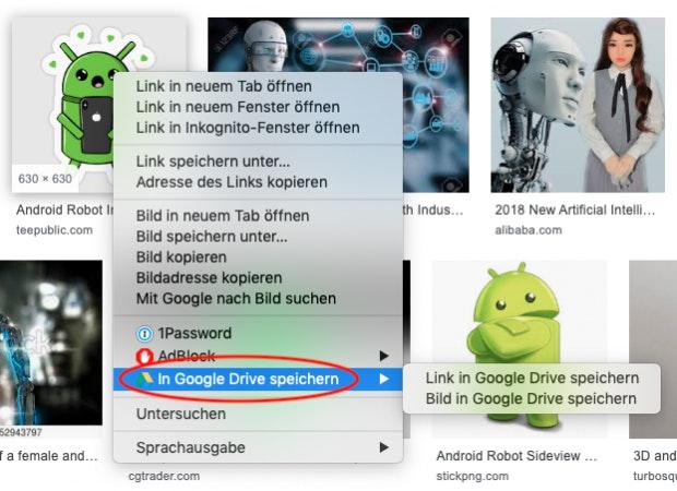 Kontextmenü der Google-Suche zum Speichern von Link-Zielen und Bildern in Google Drive.