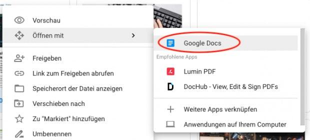 PDFs in Google Drive direkt in Google Docs öffnen und bearbeite.