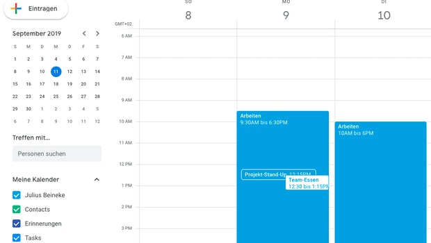"""Habt ihr bereits die passende Freigabe, könnt ihr deren Kalender schnell und einfach auf der linken Seite einblenden. Öffnet das """"Hamburger-Menü"""" (die drei horizontalen Striche). (Screenshot: t3n)"""