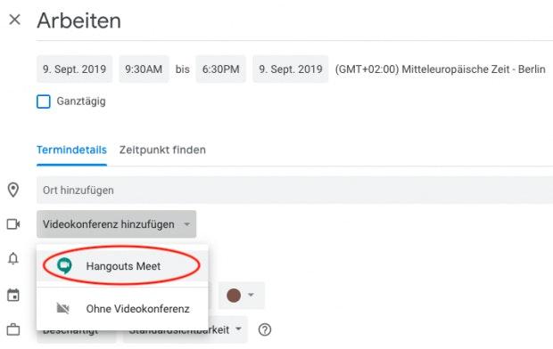 Hangouts-Videokonferenz zu Termin in Google Kalender hinzufügen.