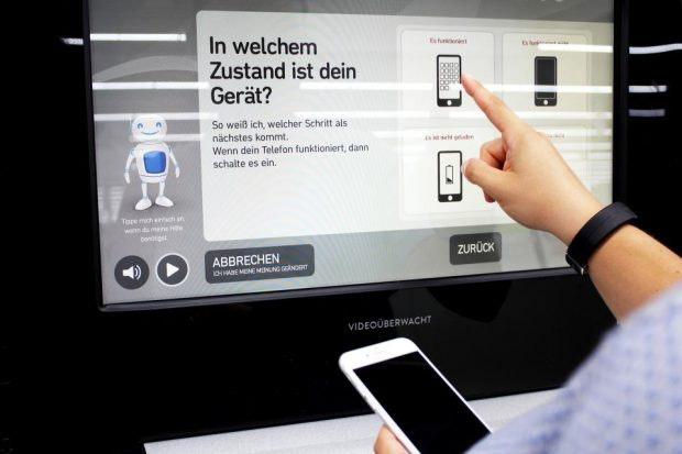 Handyankauf-Automat von Ecoatm bei Media Markt: Prozess auf dem Bildschirm