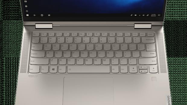 Das Yoga C740 in der 14-Zoll-Version., die sich ansonsten optisch nicht von der 15,6-Zoll-Version unterscheidet.  (Foto: Lenovo)
