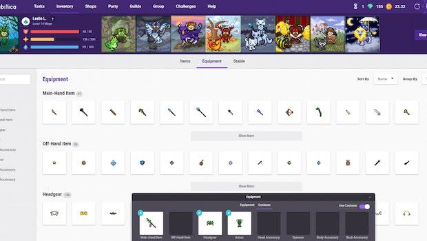 Im Equipment-Screen könnt ihr bei Habitica eure Avatare mit Items aufwerten und aufhübschen. (Bild: Habitica)