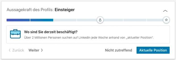 Profil-Fortschrittsbalken bei LinkedIn