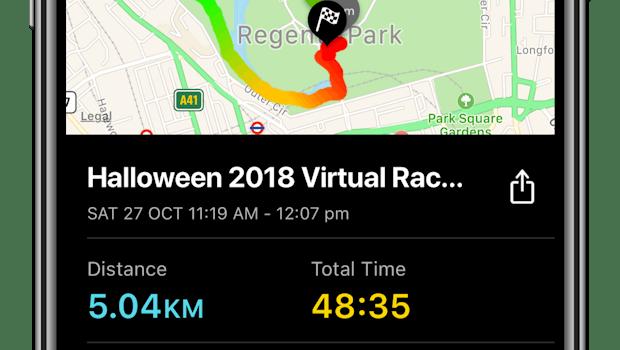 Auch ein Tracker darf bei Zombiest, Run! nicht fehlen. Eine Karte zeigt euren Laufweg, dazu kommen kleine Statistiken wie Dauer und gesammelte, virtuelle Ressourcen, die ihr... (Bild: Six to Start)