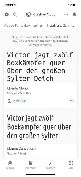 Die Creative-Cloud-App auf dem iPhone. (Screenshot: t3n.de)
