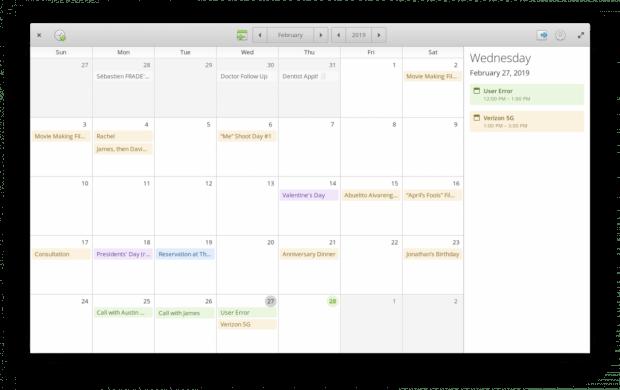 Elementary OS kommt mit eigenen Apps, hier der Kalender. (Screenshot: t3n)