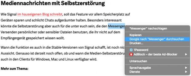 Kontextmenü mit Direktsuche-Funktion in Google Chrome.