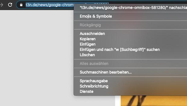 Per Rechtsklick auf die Omnibox könnt ihr eure Suchmaschinen bearbeiten. (Screenshot: t3n)