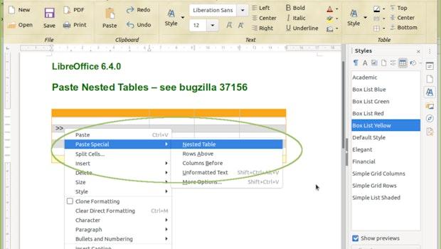 Tabellen lassen sich in Libreoffice 6.4 nun auch in einander verschachteln. (Bild: Libreoffice)