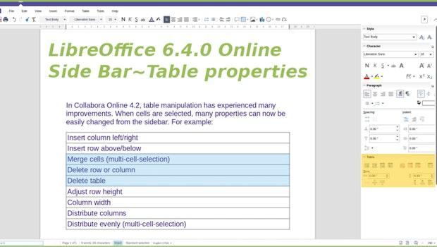 Wie auch in der Client-Version findet ihr in Libreoffice 6.4 Online mehr und verbesserte Werkzeuge für den Umgang mit Tabellen. (Bild: Libreoffice)
