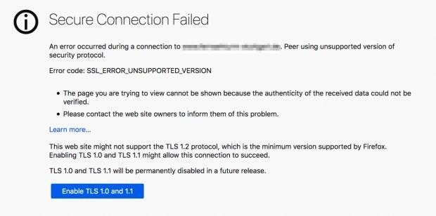 Firefox 74 TLS-Error.