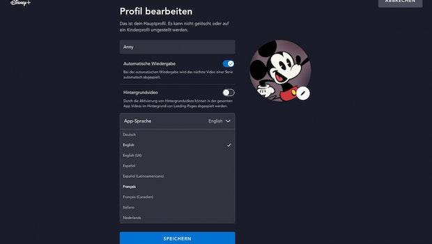 Disney Plus – für jedes Nutzerprofil kann eine Sprache festgelegt werden. (Screenshot: t3n)