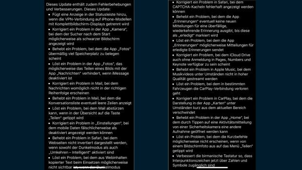 iOS 13.4: Die Bugfixes. (Screenshot: t3n)