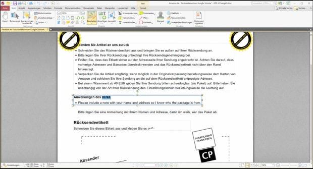 Beispiel-PDF im PDF XChange Editor
