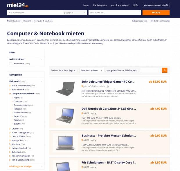 Miet24.de Webseite