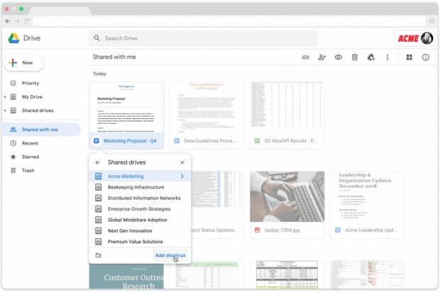Mit den Shortcuts verlinkt ihr Dokumente auf Google Drive an anderer Stelle.