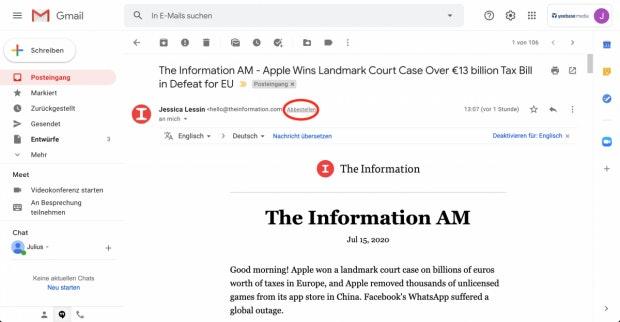 Abbestellen-Button in Mails in Gmail