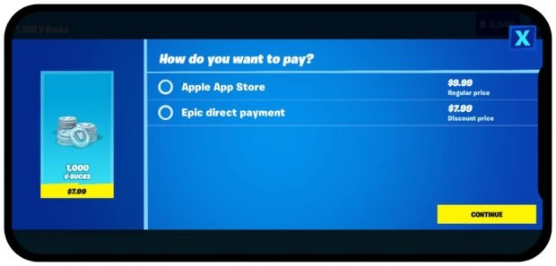 Epic Fortnite Apple App Store Payment