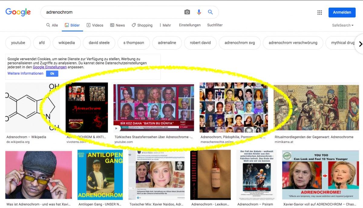 """Google Bildersuche zum Begriff """"Adrenochrom"""". (Screenshot: t3n)"""