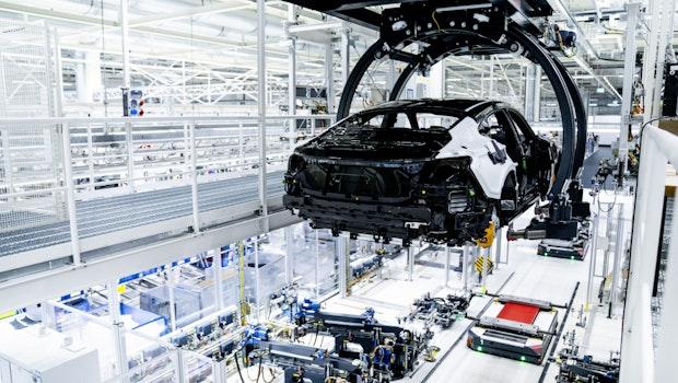 Fertigungsstraße des Audi E-Tron GT.