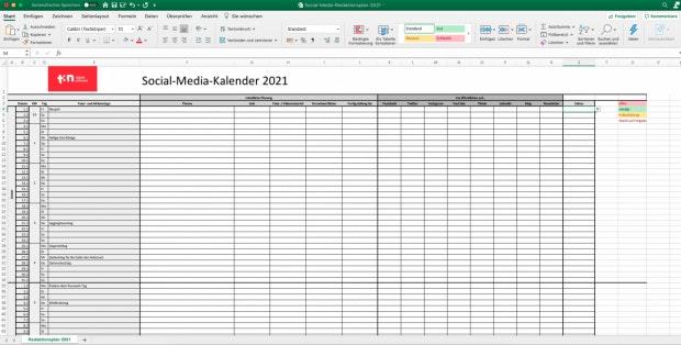 Social-Media-Redaktionsplan 2021 Vorschau
