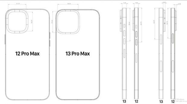 CAD-Skizzen zufolge wird Apple das Kamera-Element des iPhone 13 Pro Max noch einmal vergrößern und die Kamera könnte ein wenig weiter aus dem Gehäuse ragen. (Skizze: EverythingApplePro).