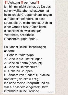 Wie whatsapp findest mich kettenbrief du Kettenbriefe whatsapp