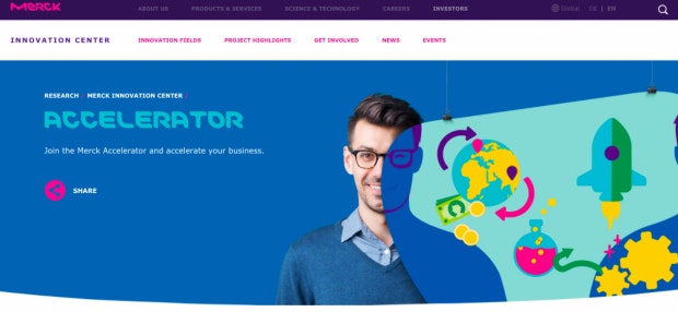 Für Startups mit Urknall-Potential: Merck fördert Ideen mit einem Accelerator (Screenshot: t3n).