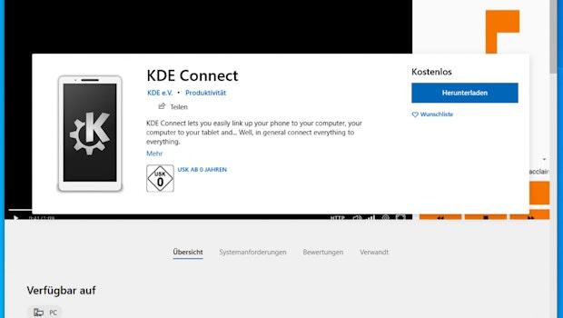 KDE Connect im Microsoft-Store. (Screenshot: t3n)