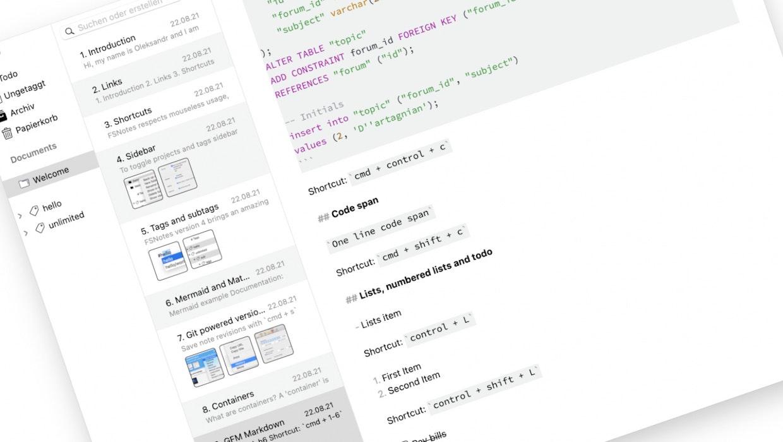 FSnotes 5: Die quelloffene Notiz-App kann fast alles, was du brauchst