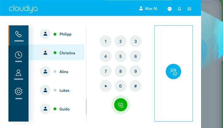 Ein Screenshot der Bedienoberfläche von Cloudya, der Unified-Communication-Lösung von NFON