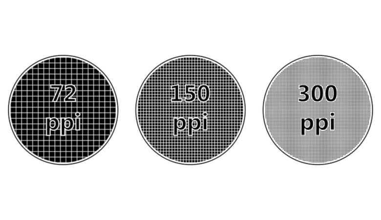 Das Bild zeigt den Unterschied zwischen den Pixeldichten 72 dpi, 150dpi und 300 dpi. Während man bei 72 dpi noch die einzelnen Kacheln genau sehen kann, sind sie bei 300 dpi kaum zu erkennen.