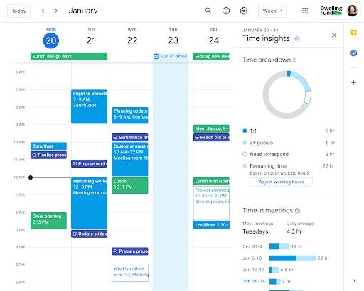 Time Insights Google Kalender Workspace