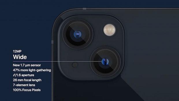 Die Weitwinkelkamera des iPhone 13. (Screenshot: t3n; Apple)