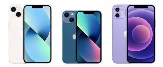 iPhone 13 neben iPhone 13 Mini und iPhone 12