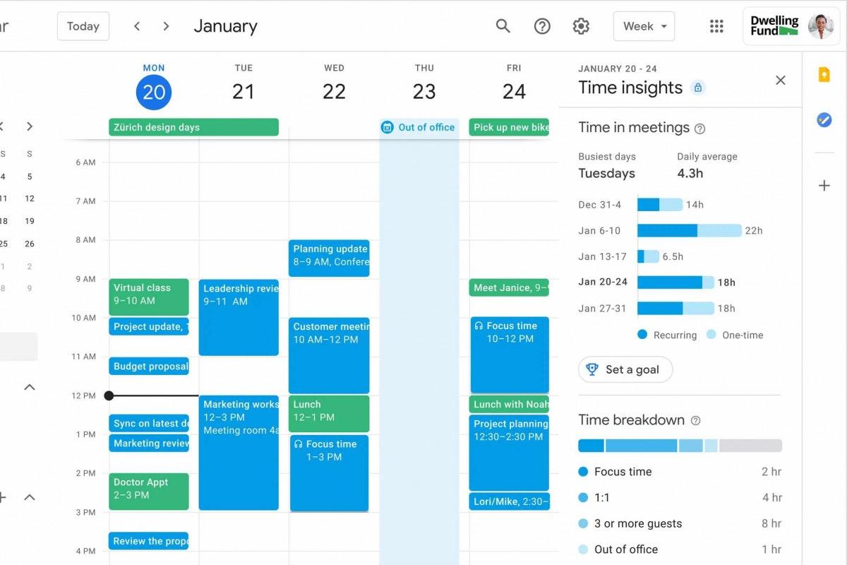 Tine Insights Google Workspaces Kalender